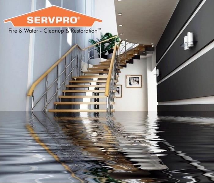 Flooded Stairs with SERVPRO logo